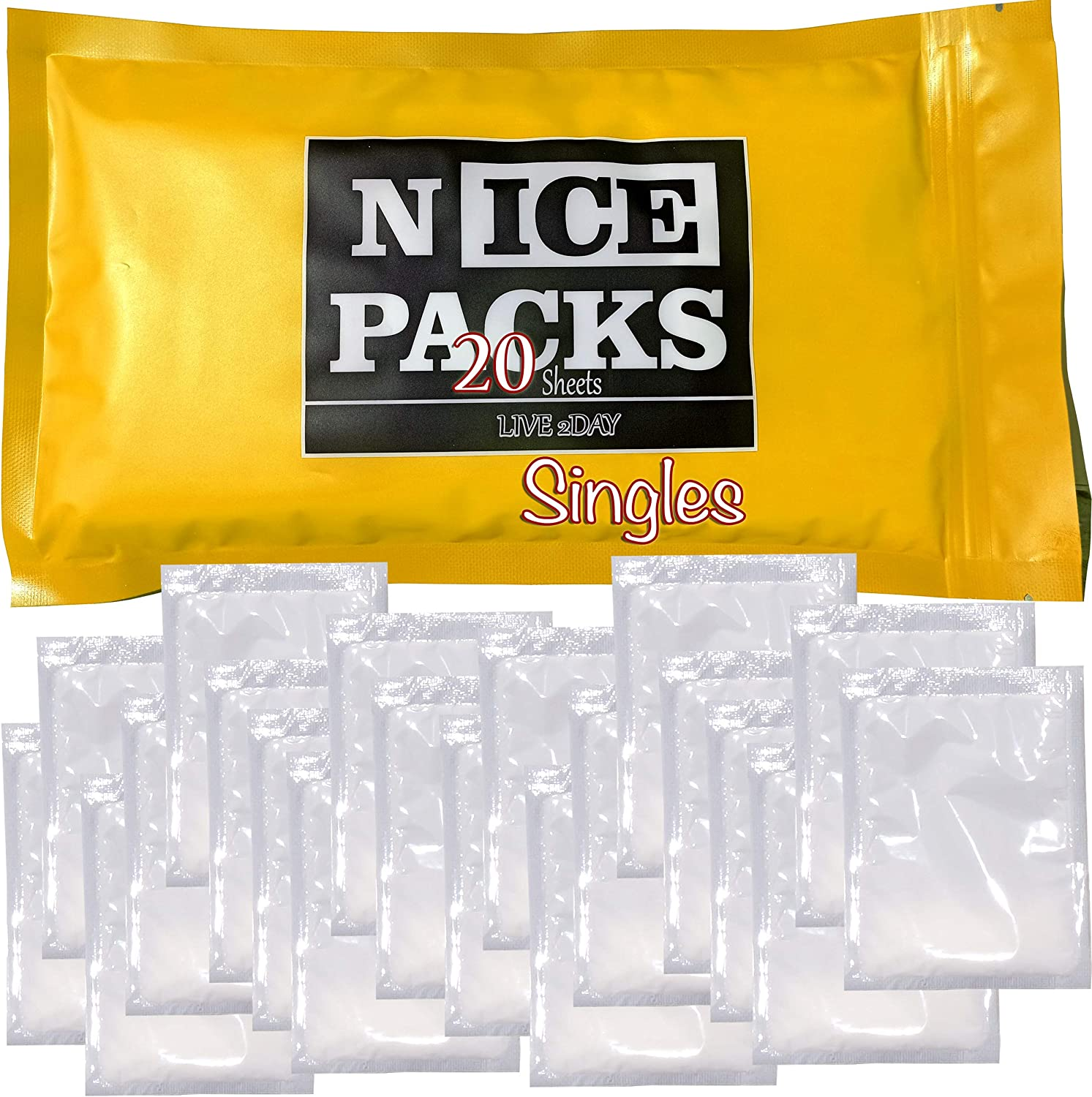 LIVE 2DAY Nice Packs Dry Ice for Coolers - Lunch Box Ice Packs - Dry Ice for Shipping Frozen Food - Ice Packs for Lunch Bags - Reusable Ice Packs - 20 Singles, Long Lasting, Flexible