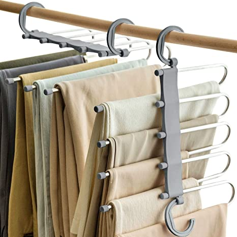 Amazon Com Vitalome Perchas Para Pantalones 5 Perchas En 1 Acero Inoxidable Antideslizantes Ahorra Espacio Organizador De Almacenamiento Para Pantalones Jeans Faldas Bufandas Home Kitchen