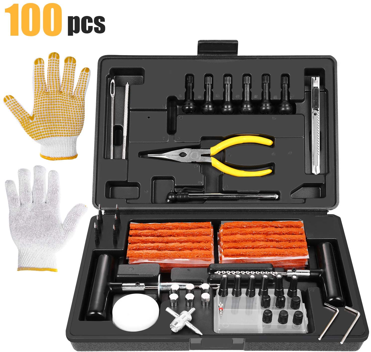 Kit de Reparación de Neumáticos 100pcs, TECCPO Reparación de Neumáticos con Mechas para llantas, Herramientas Automotrices Punción Multifuncional con Maleta Negra, Guantes, Clavos de Reparación Rápida