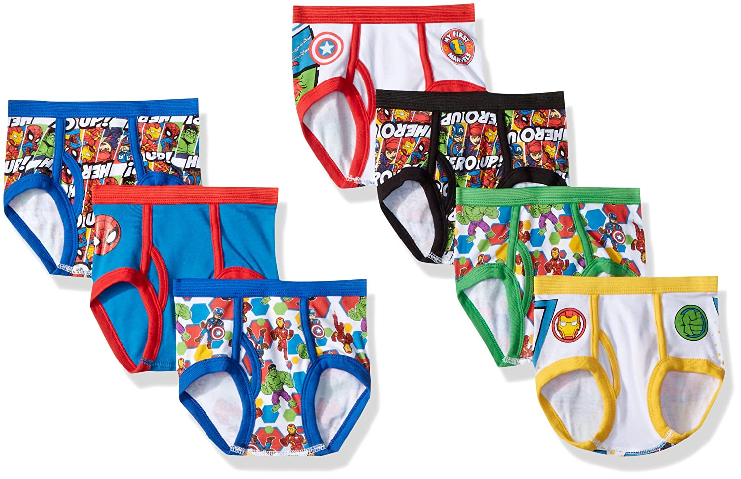 Marvel Boys' Toddler 7-Pack Superhero Adventures Brief Underwear TBUP5283