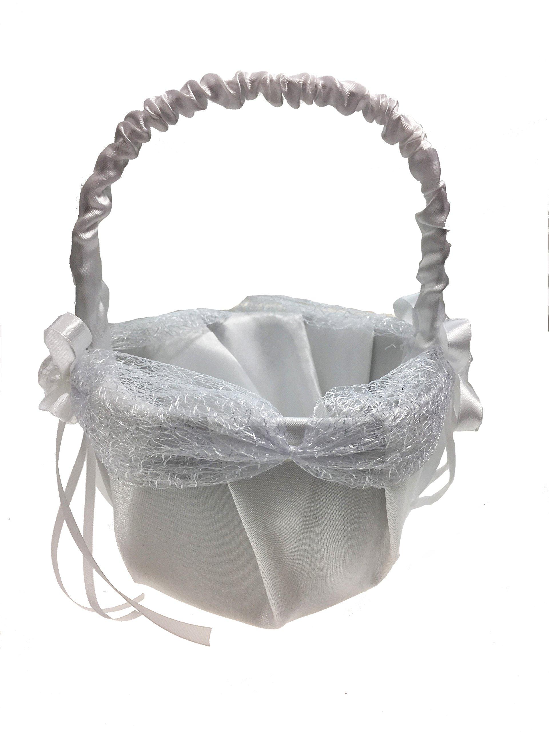 8.5'' Inch White Satin Wedding Basket with Petals & Rhinestones - For Flower Girl, Flowers, Roses, Petals, Anniversaries, & Weddings (Basket 2, Purple Petals)