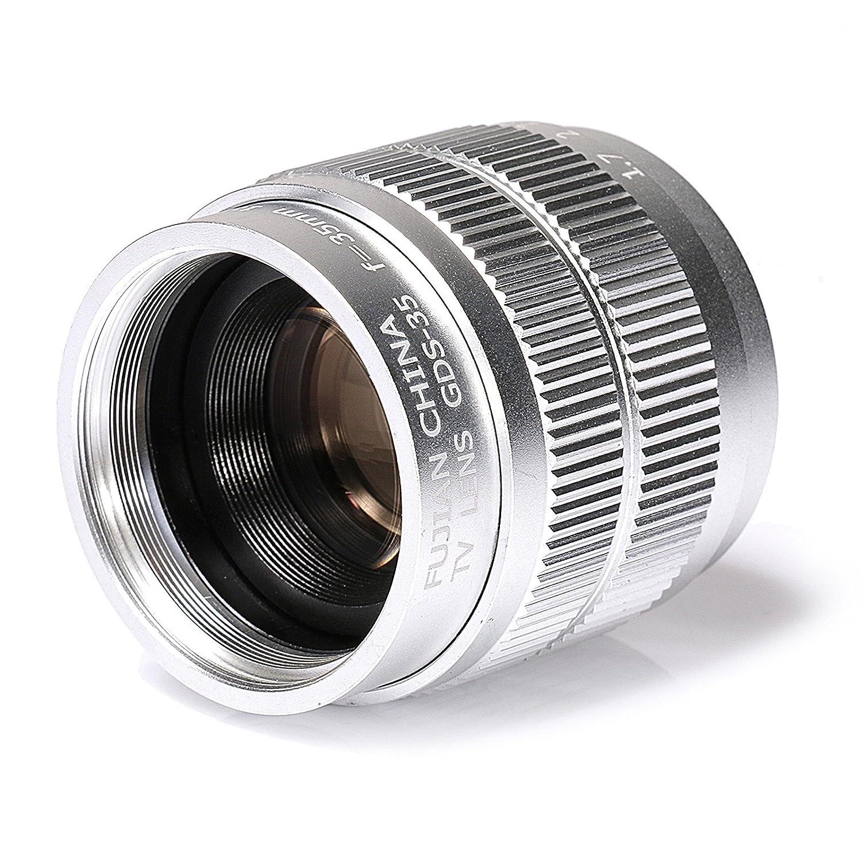 シルバー35 mm f1.7テレビテレビレンズ/CCTVレンズfor 16 mm Cマウントカメラ LENS  B07D74QVTM