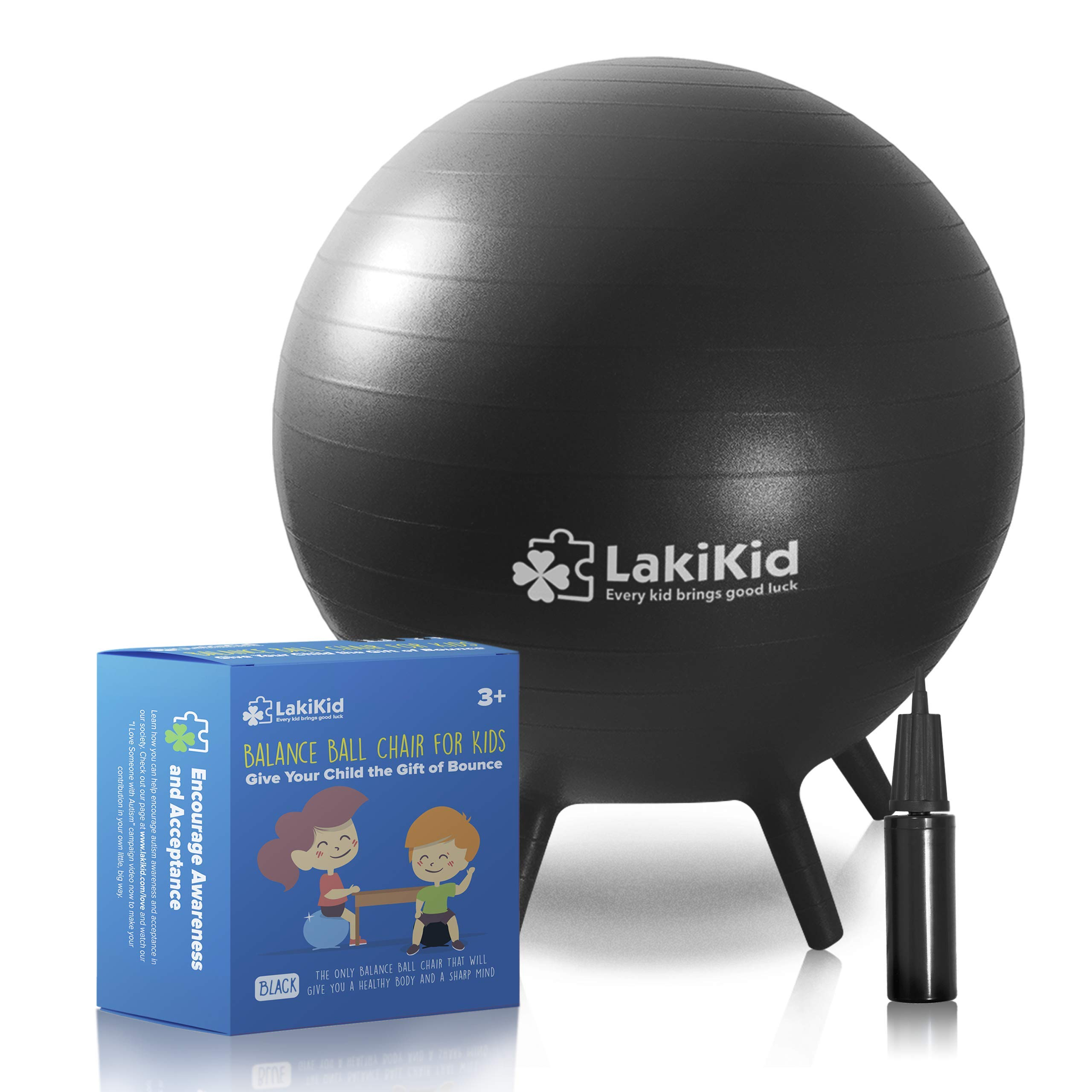 LakiKid Balance Ball Chairs for Kids - Perfect Stability Balls for Flexible Seating Classroom - Fun Alternative Seating for Students (Kids (45cm), Black) by LakiKid