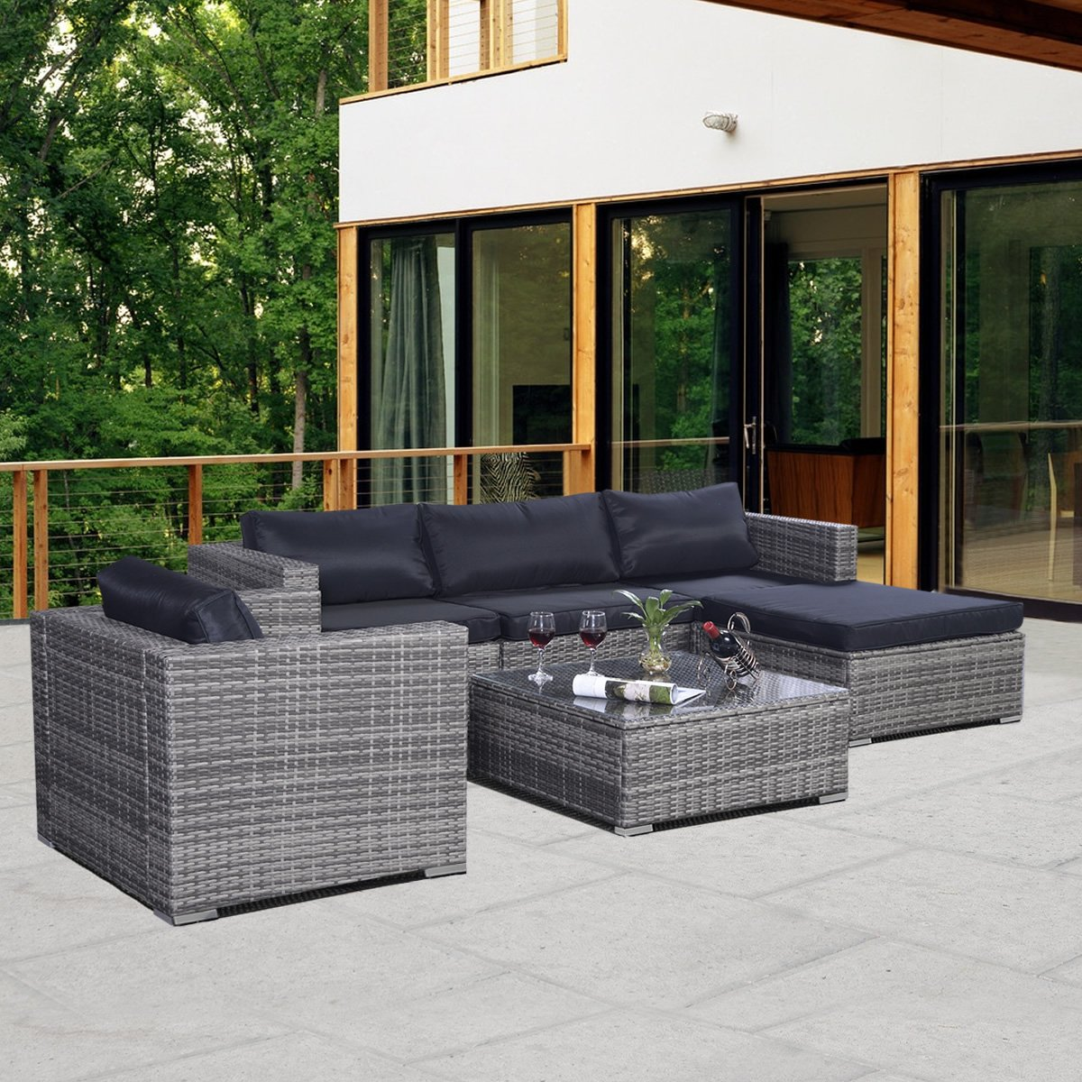 Amazon.de: 13tlg.Lounge Set Gartenmöbel Rattan Set Polyrattan ...