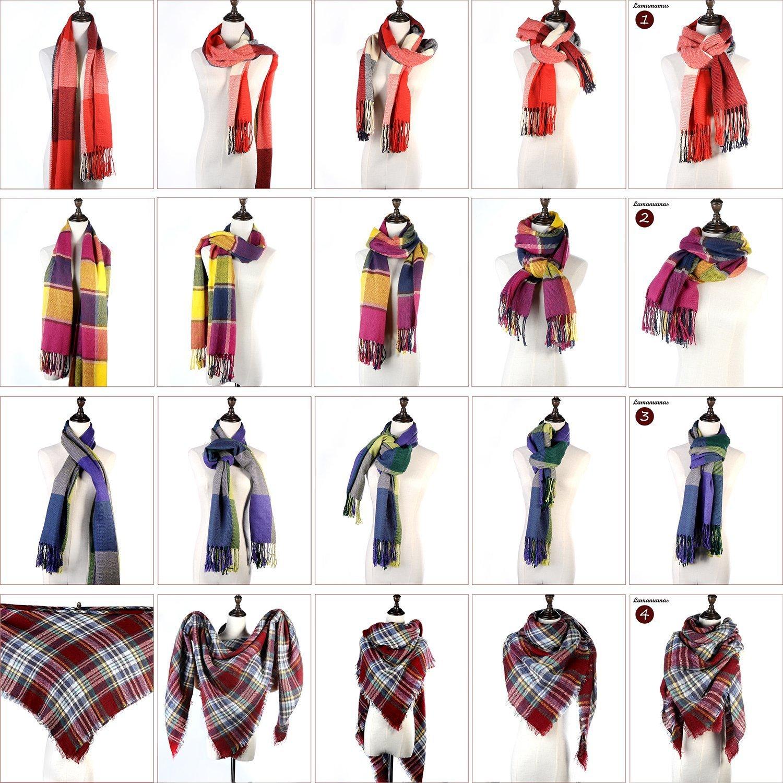 Lamamamas Plaid Blanket Scarf Warm Cozy Tartan Wrap Shawl Winter Scarfs for Women