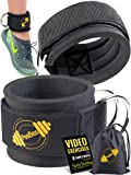Ankle Straps for Cable Machines | Padded Cable Machines Ankle Cuffs for Gym, Cable Exercise Fitness Ankle Straps Attachement for Women and Men Legs Workout - Carry Bag Included