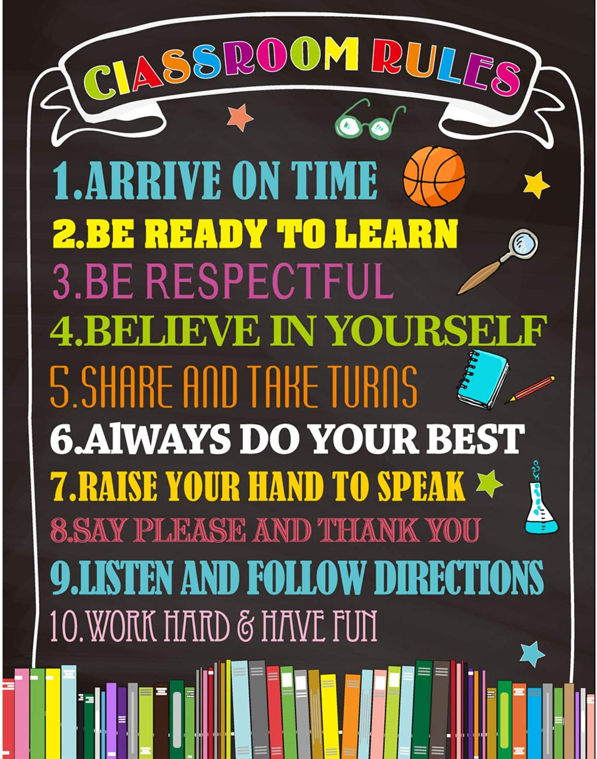 Classroom Rules Poster Back to School Classroom Decorations 11 X 14 for Preschool Middle High School Classroom Decor