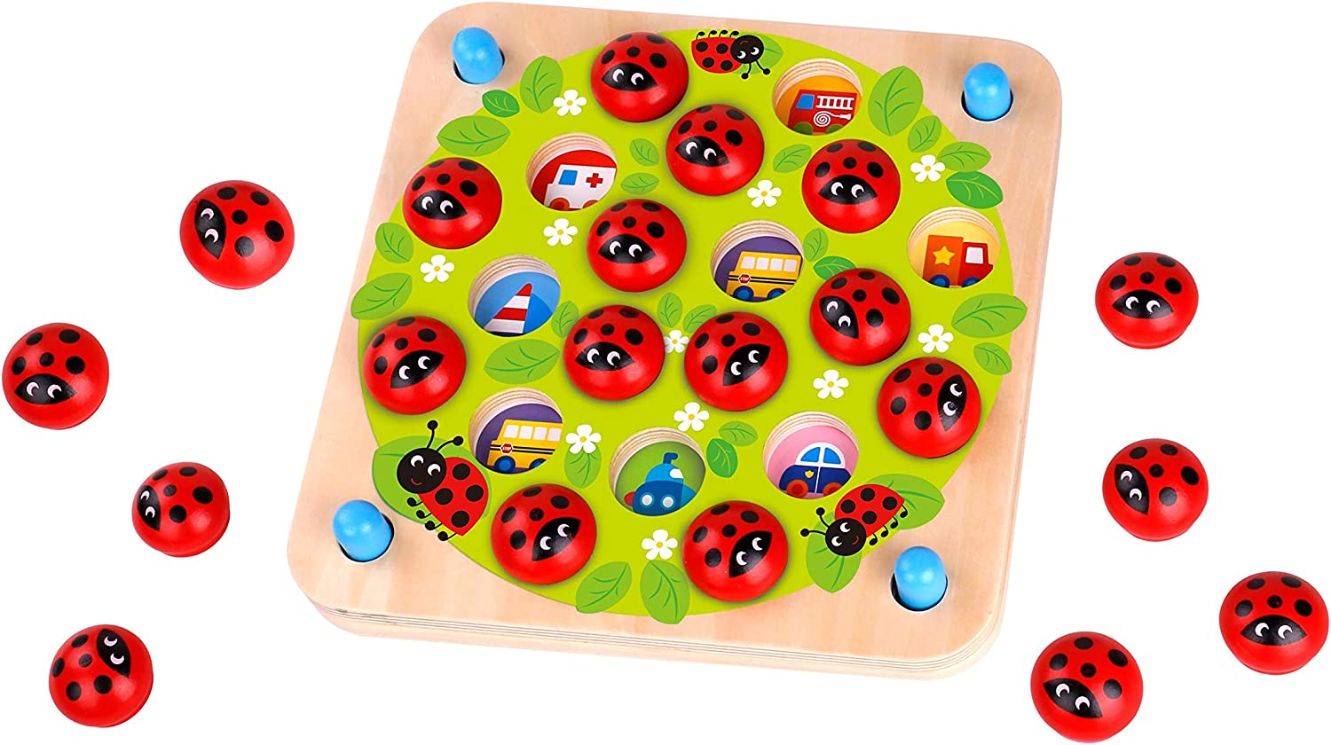 Amazon Com Fat Brain Toys Ladybug S Garden Memory Game Games For Ages 3 To 4 Toys Games