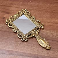 White Box Oxidised Metal Rectangle Pocket Or Vanity Mirror Golden Finish Decorative Antique Traditional Gift Item Showpiece