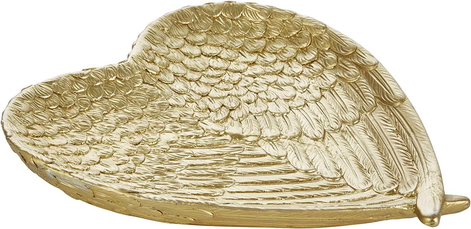 Sagebrook Home, Gold Decorative Resin Heart Plate, 8.75 x 8 x 1.25 Inches