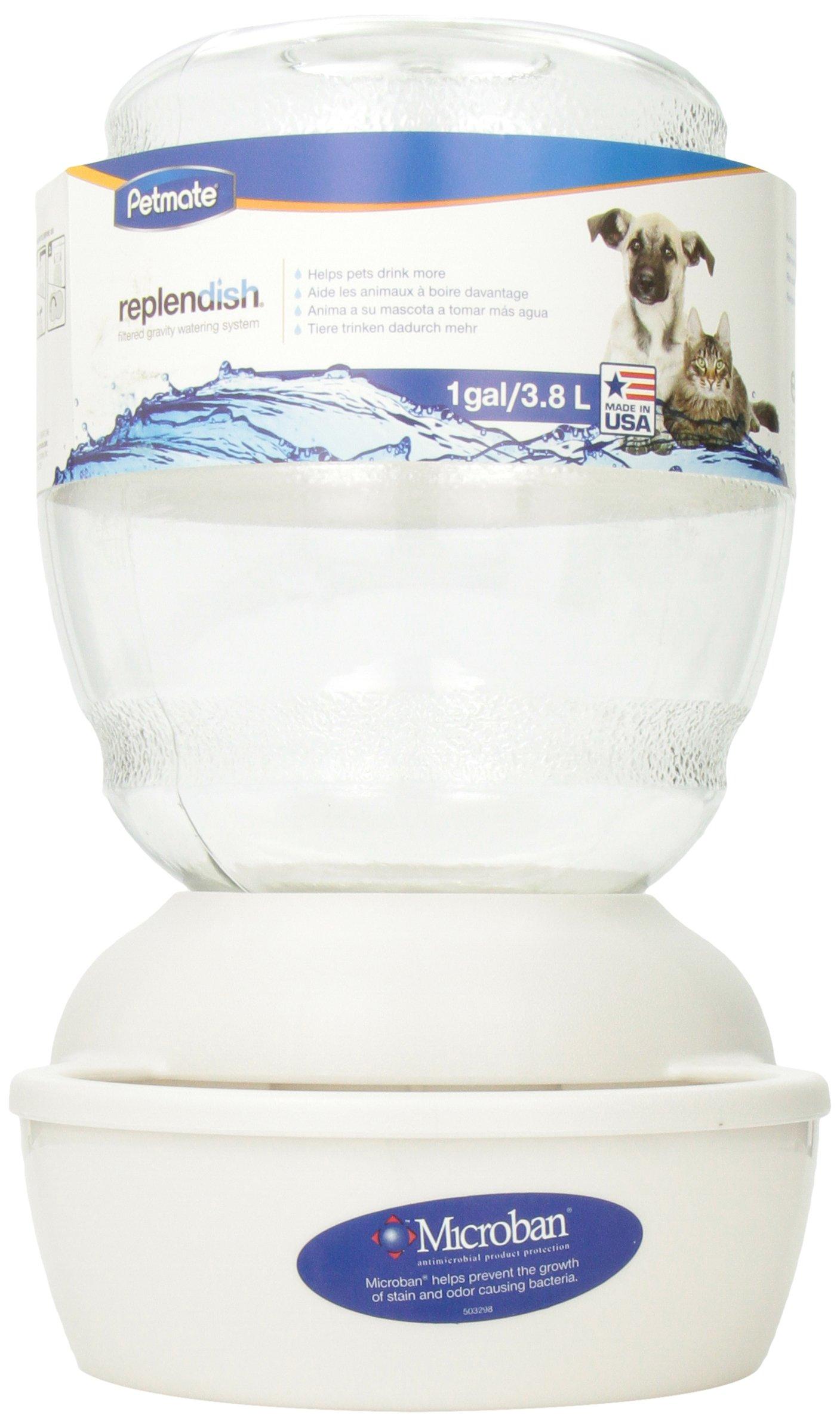 Petmate Replendish Gravity Waterer w/ Microban Pearl White 1 GAL