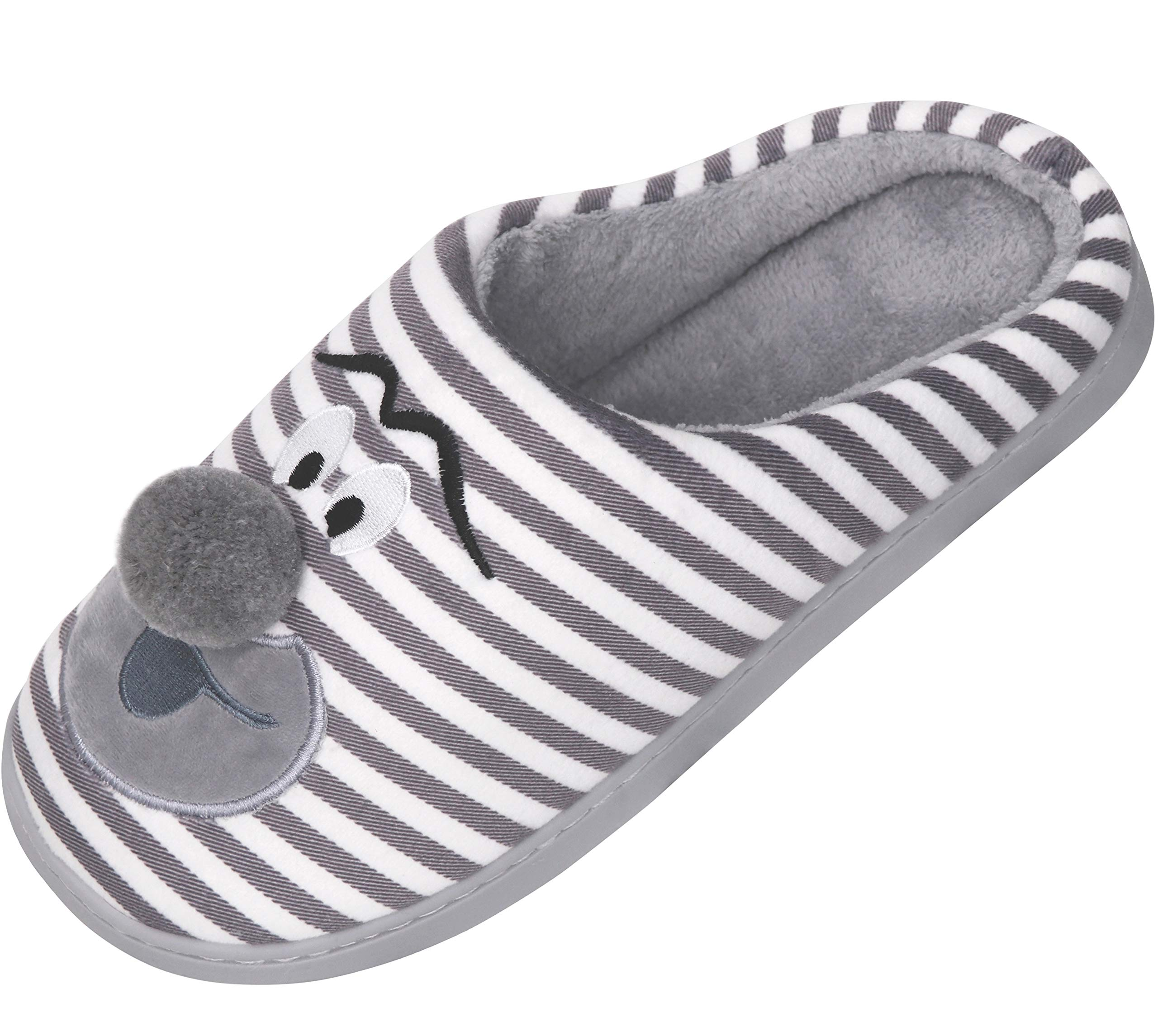 Unicorn Animal Slippers | Indoor Outdoor Women Slippers | Cozy Plush Home Shoes | Cute Fluffy Girls Slippers Grey 16.5In