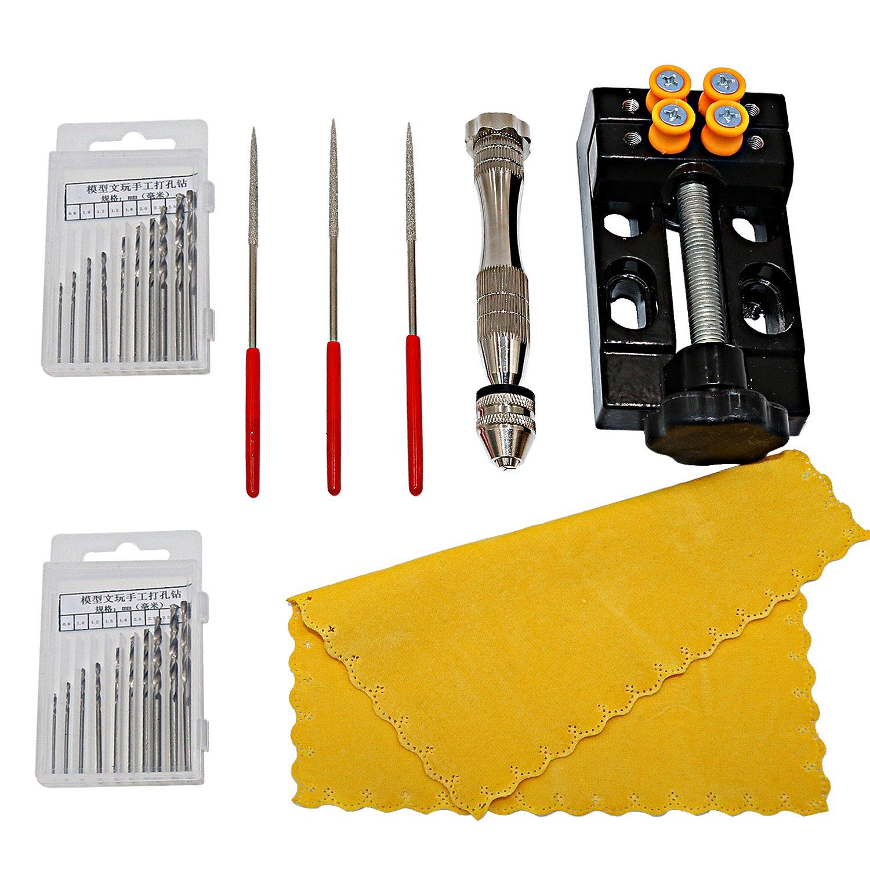 NIUPIKA Precision Pin Vise Model Hand Crank Drill Press Micro Twist Drill Bits Set Drilling Holes Center Punch Rotary Tools