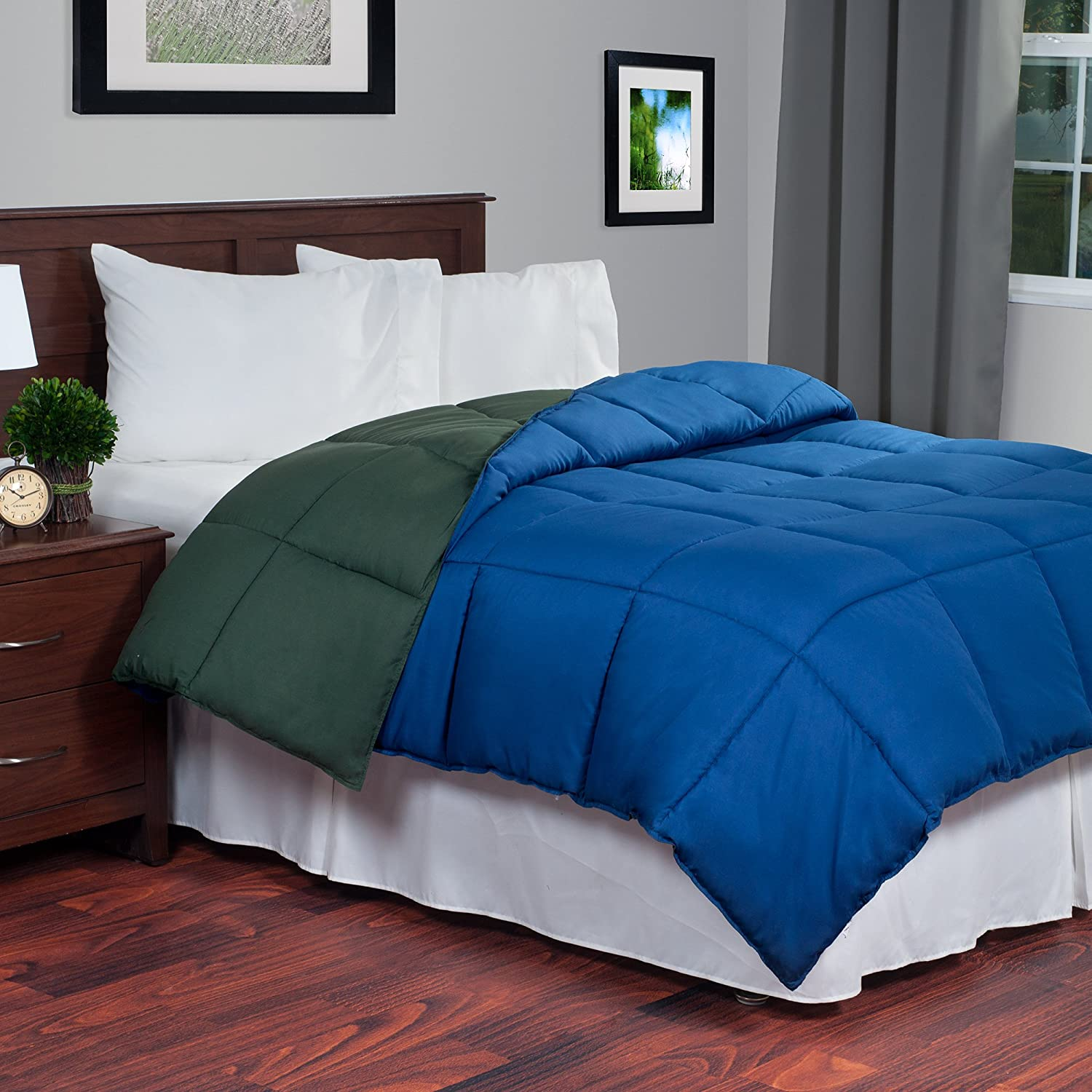 Reversible Down Alternative Comforter, King, Dark Green/Dark Blue