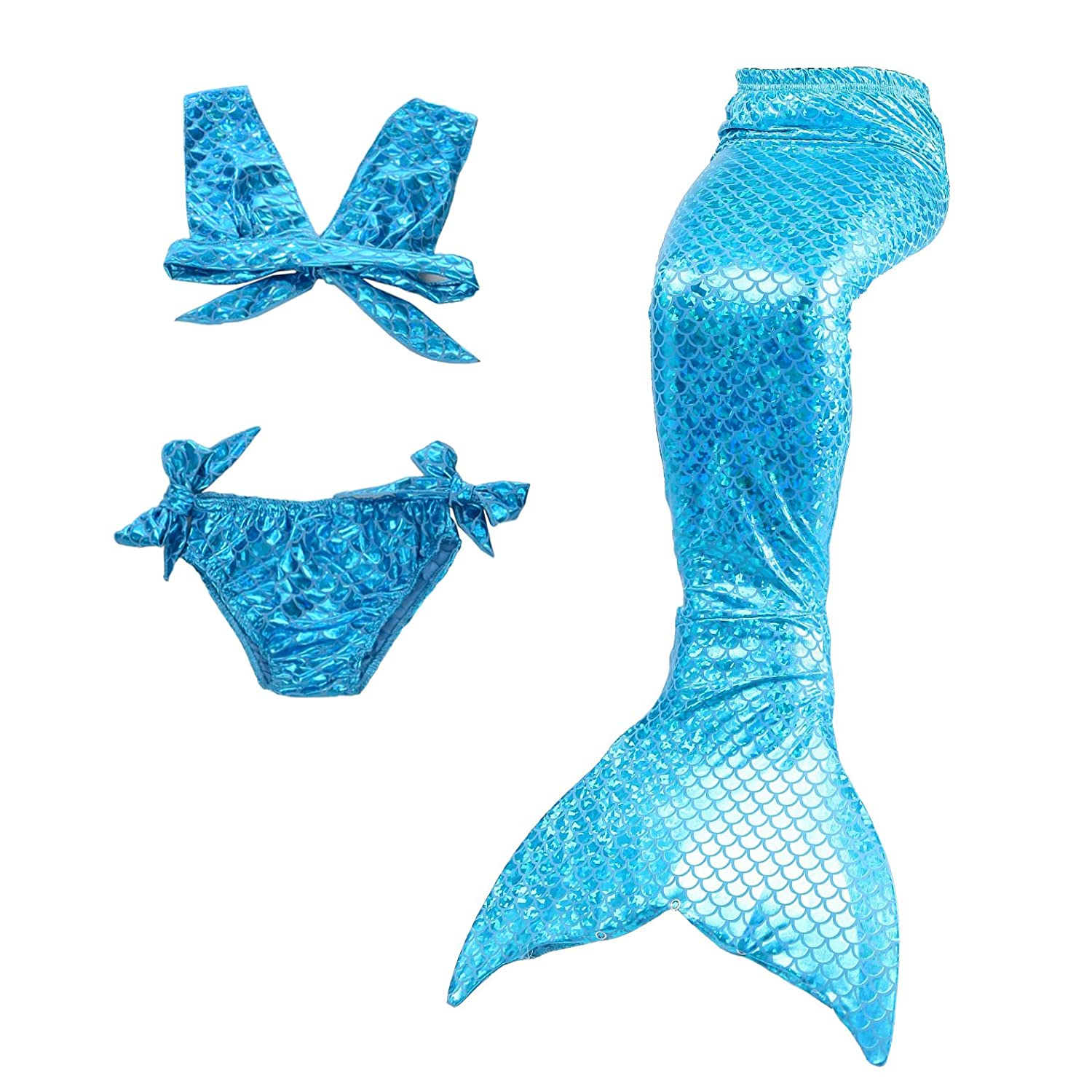 9f60e7ff0948a This beautiful 3-pieced mermaid swimwear is featured with stretchy material  printed with shimmery fish scales pattern. Set includes a top, a bikini  brief, ...