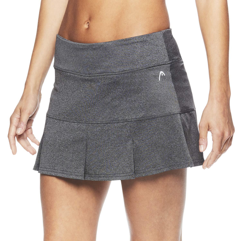 HEAD Women's Athletic Tennis Skort - Performance Training & Running Skirt - Charcoal Heather Match Up Skort, X-Small