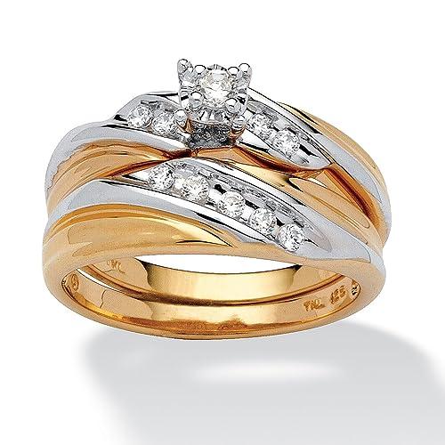 Palm Beach Jewelry - Set anillos de boda - Oro de 18k sobre plata de ley - Circonitas cúbicas - Bicolor: Amazon.es: Joyería