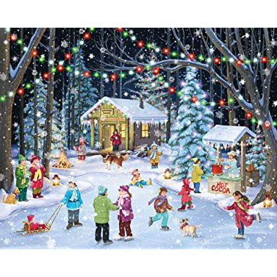 Vermont Christmas Company Woodland Skaters Jigsaw Puzzle 1000 Piece: Toys & Games [5Bkhe1800743]