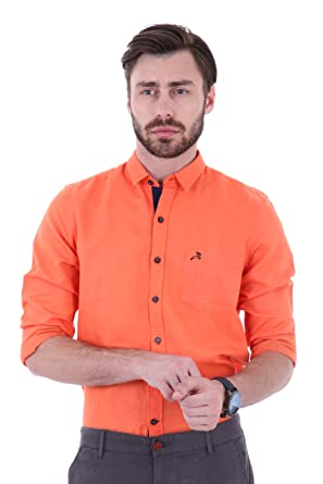 6ec2ba52d3 Roman Island Men's Orange Colour Full Sleeves Shirt: Amazon.in ...