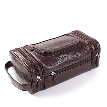 5e71fb2a8d Amazon.com   Multi Pocket Toiletry Bag - Italian Leather - Espresso (brown)    Beauty