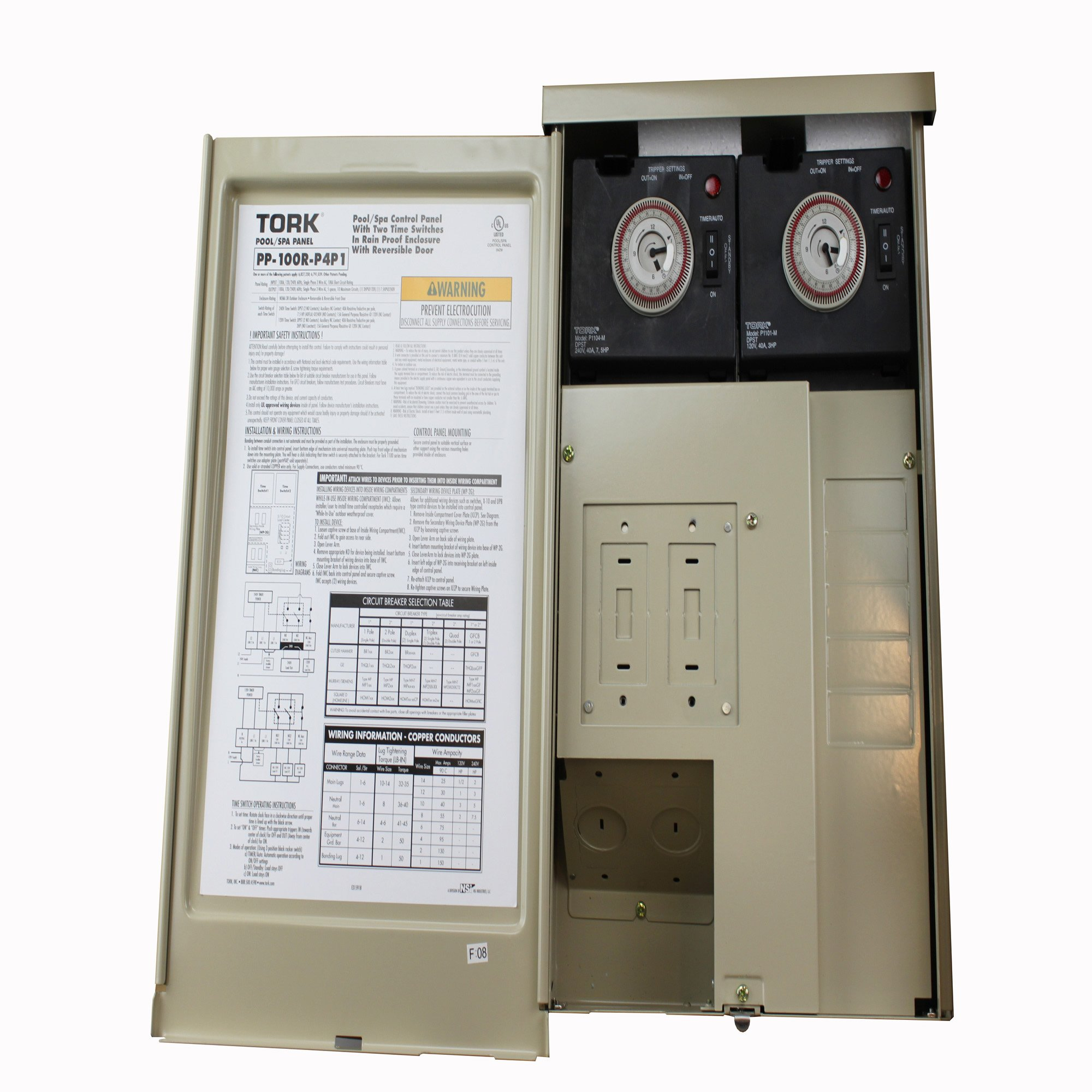PP Panel Series Pool and Spa Control Panels with Time Swtich, 240/120 VAC Control Input, 100 Amp, 5/10 Circuit Breaker Base
