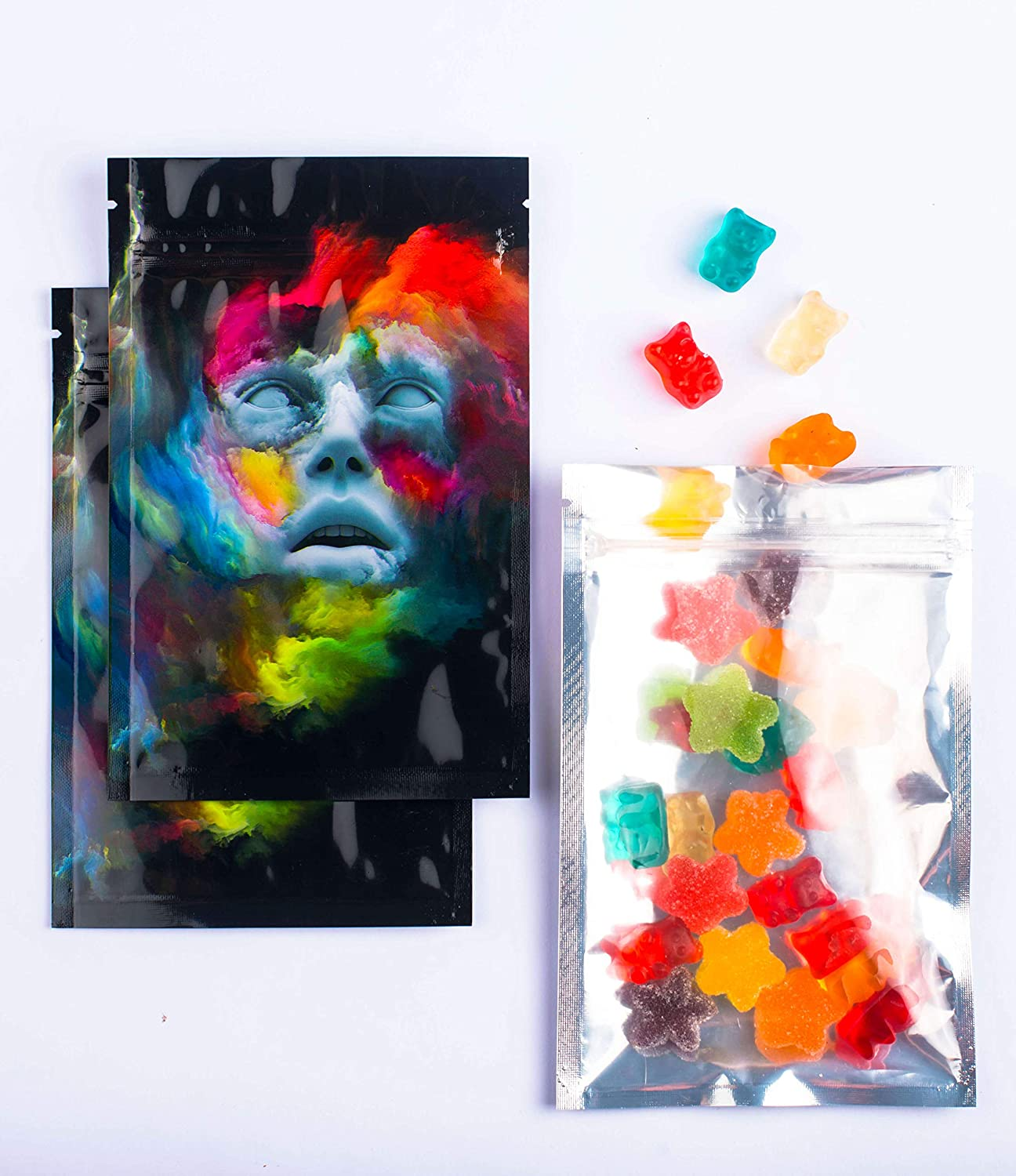 BEST Designs | 50 Smell Proof Mylar Bags | 4x6 inch Resealable Ziplock Bags Food Safe Aluminum Foil Plastic Material (4x6 in., The Faceless Man)
