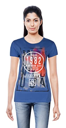 "c8dc90ce3 Banaz Women s Regular Fit Top - Printed Blue Casual Tshirt ""Travel"" Design  - Soft"