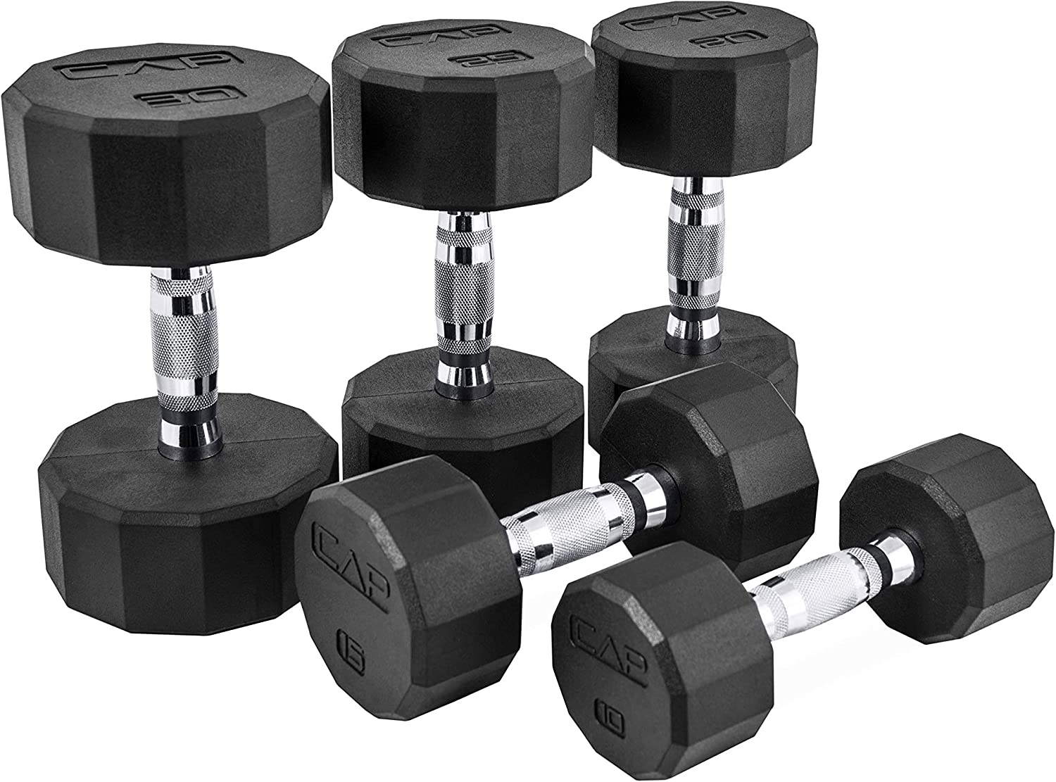 Sold in Pairs CAP Barbell 12 Sided Rubber Coated Solid Steel Cast-Iron Pair Dumbbells for Muscle Toning Home Gym Dumbbells Full Body Workout