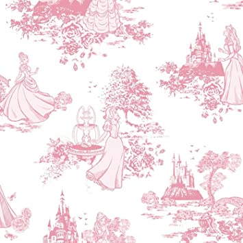 Disney Princess Toile Pink Wallpaper Amazon Co Uk Diy Tools