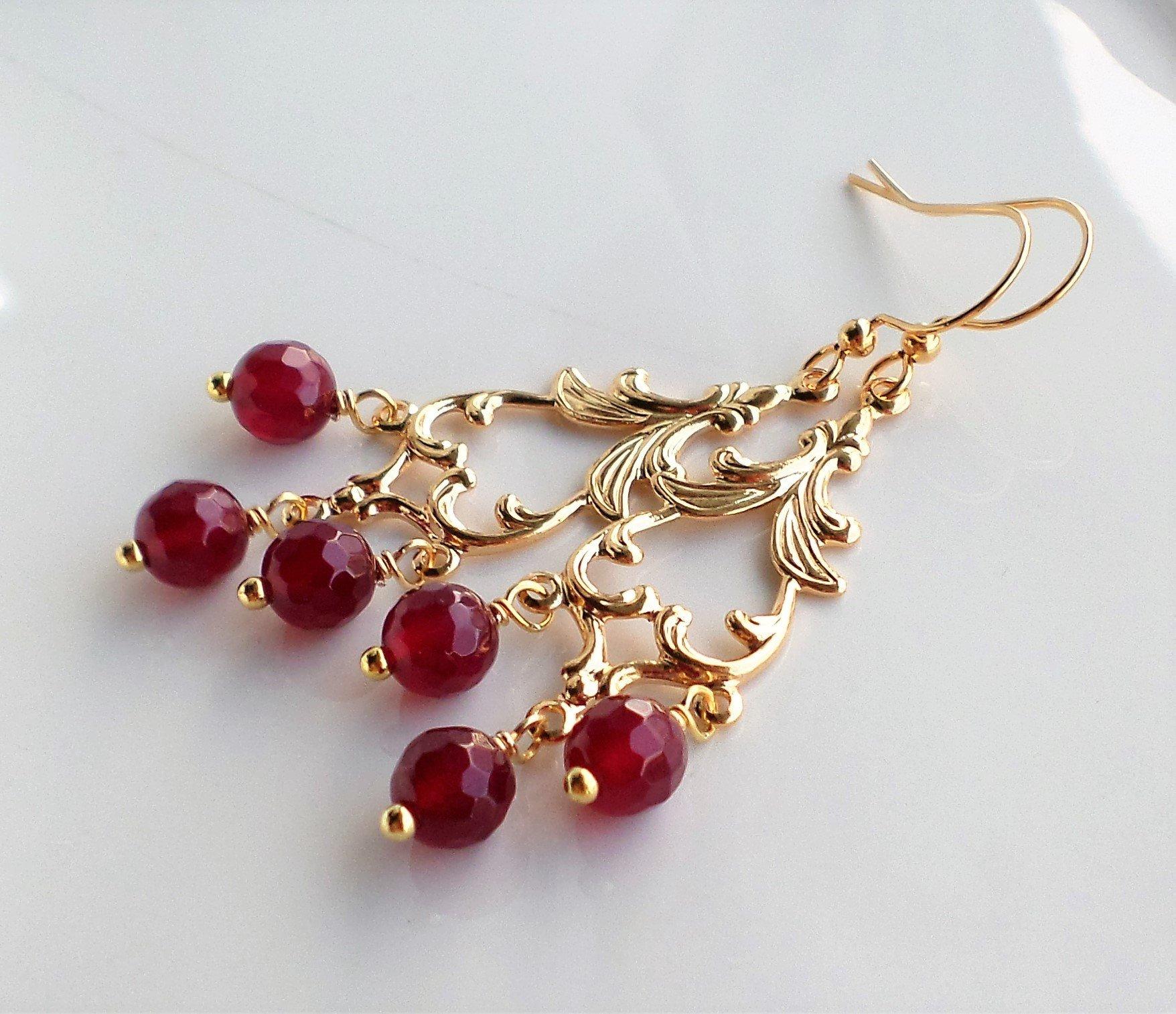 Red Gemstone Gold Chandelier Earrings
