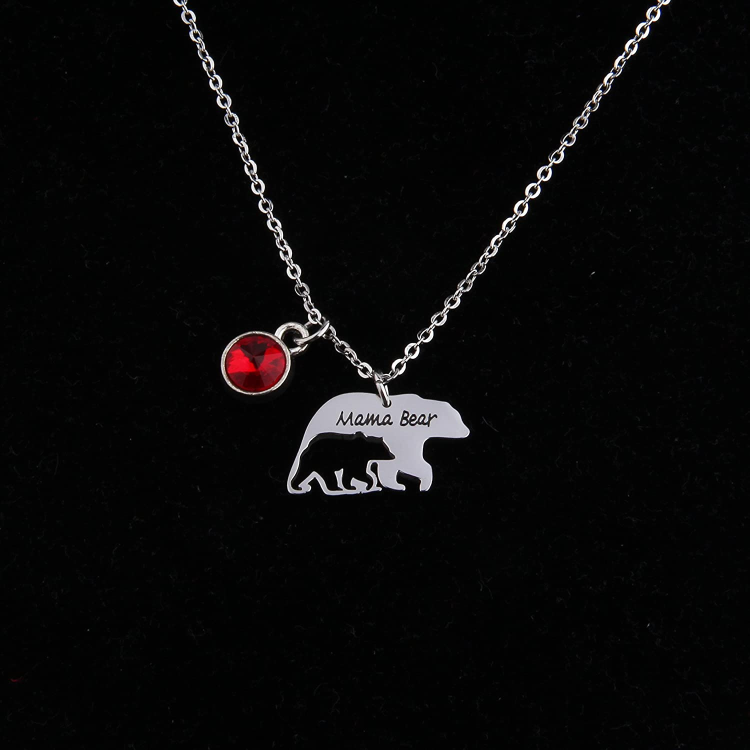 Zuo Bao Mama Bear Necklace Mom Necklace Mama and Baby Bear Necklace with 12 Months Birthstone Birthday Gift Family Jewelry for Her