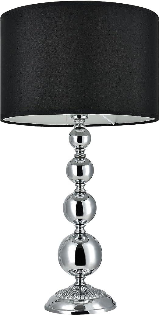 Lux.pro] Lámpara de mesa moderna - negro - (E14) - metal, tela ...