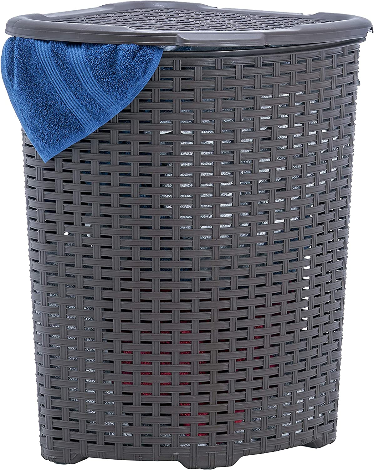 Corner Laundry Hamper Basket with Lid 50 Liter - Brown Wicker Hamper, Durable, Lightweight Bin with Cutout Handles - Storage Dirty Cloths Curved Shape Design Fits Bathroom, Door, Closet. By Superio
