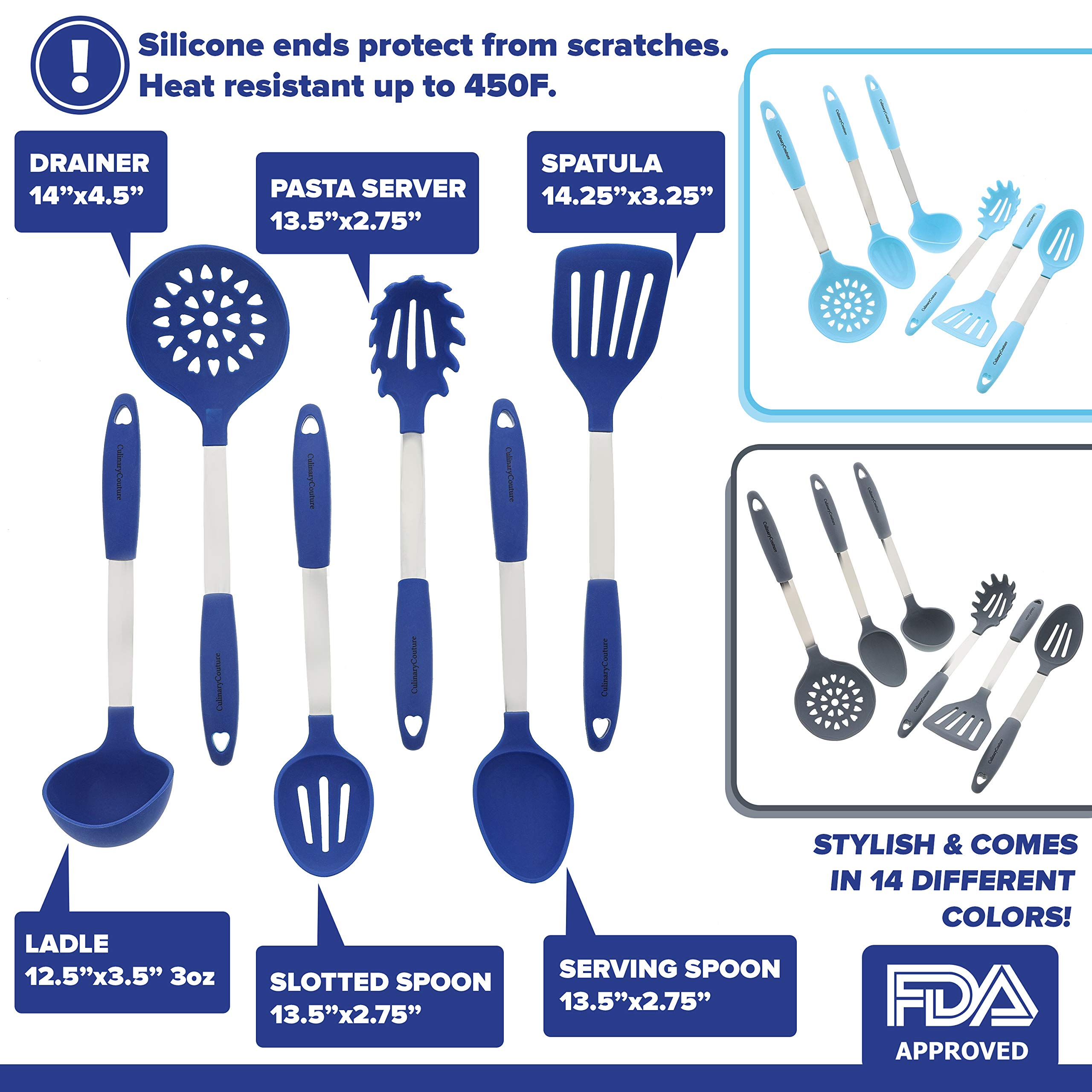 Blue Kitchen Utensil Set - Stainless Steel & Silicone Heat Resistant Professional Cooking Tools - Spatula, Mixing & Slotted Spoon, Ladle, Pasta Fork Server, Drainer - Bonus Ebook! by Culinary Couture (Image #2)