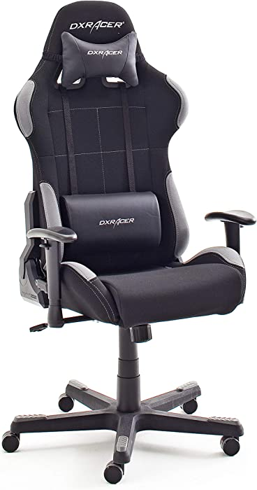 Sedia da gioco/ufficio/scrivania, con ruote, regolabile in altezza, nero/grigio, 78 x 52 x 124-134 cm 62505SG4