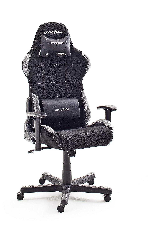 Robas Lund OH/FD01/NG DX Racer 5 krzesło gamingowe/biurowe krzesło biurowe, z funkcją przechylania, krzesło dla graczy, krzesło obrotowe z regulacją wysokości, ergonomiczne krzesło szefa, czarno-szare