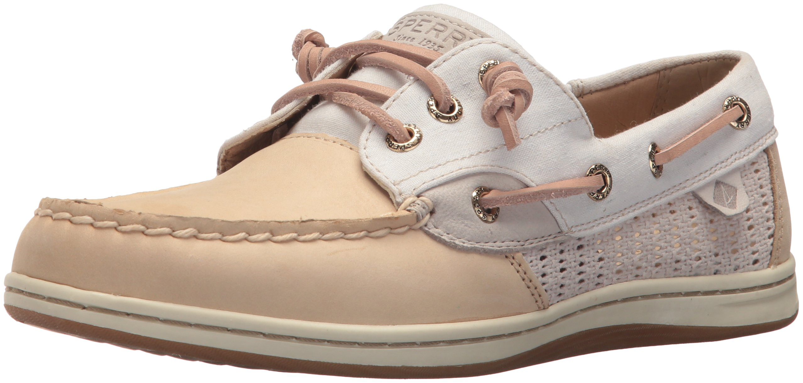 Sperry Top-Sider Women's Songfish Chambray Boat Shoe, Linen, 9 Wide US