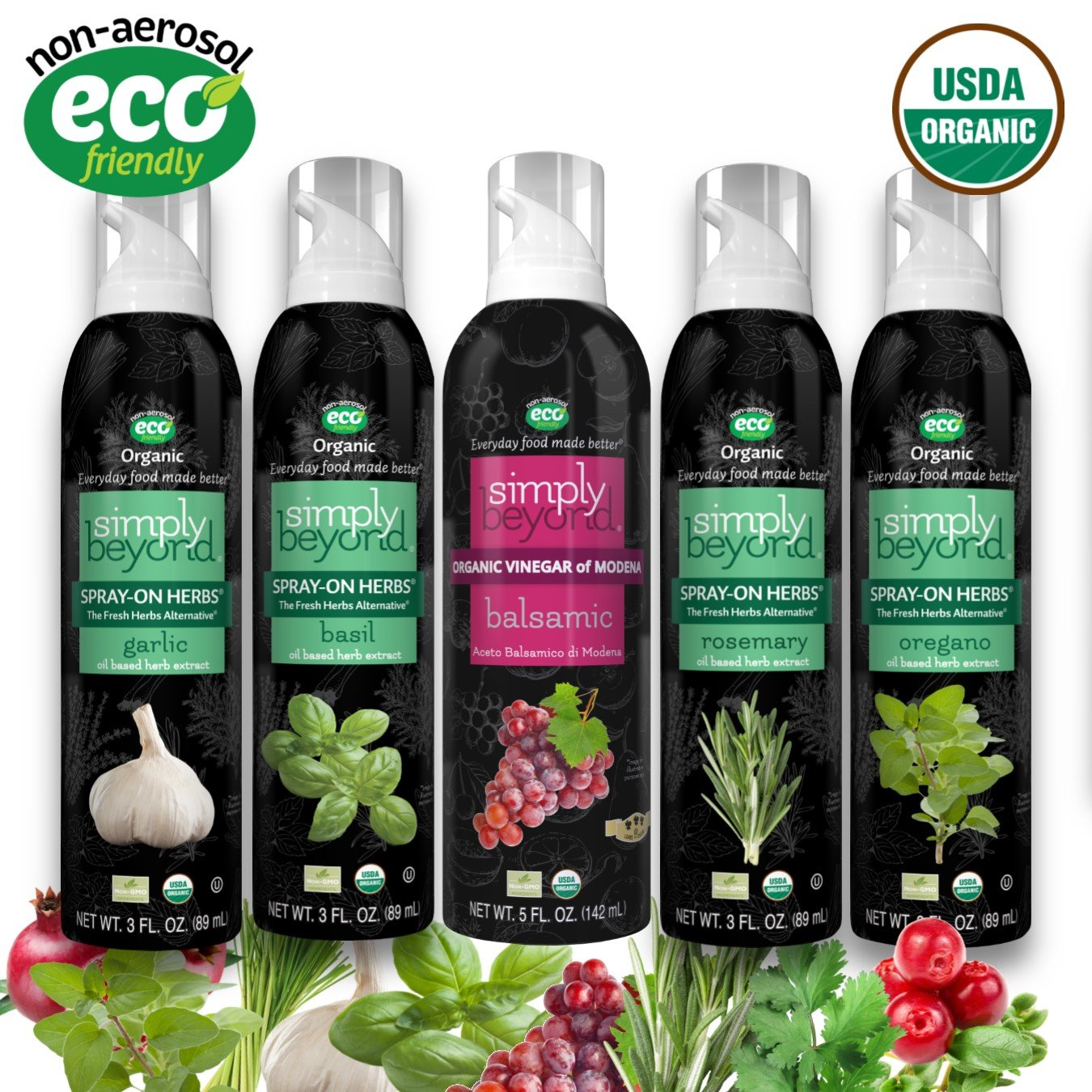 Simply Beyond Organic Herbs & Vinegars Starter Kit (4 Herbs - Garlic, Basil, Rosemary, Oregano - 1 Balsamic Vinegar) (5 Pack)