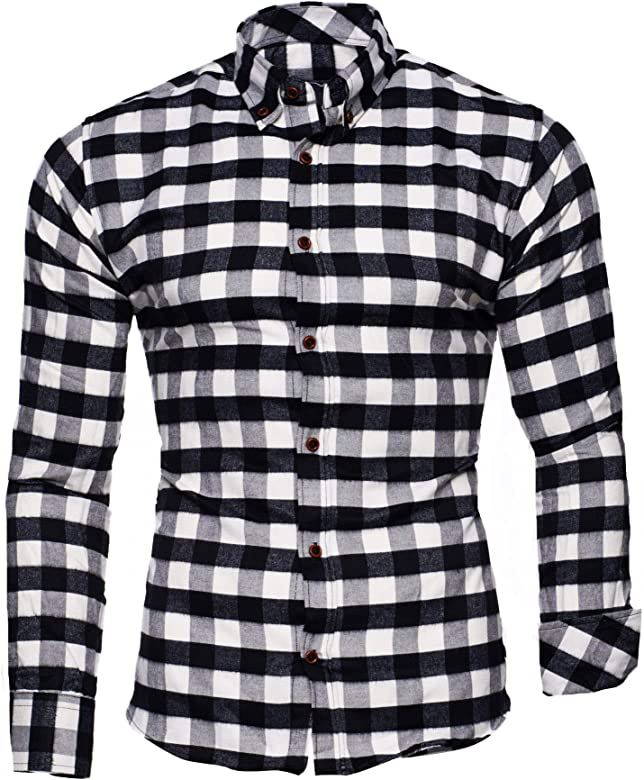 519b9c218462 Kayhan Originale Uomo Camicia Slim Fit Facile Stiro Cotone Maniche Lungo S  M L XL XXL 2XL -Modello Chicago