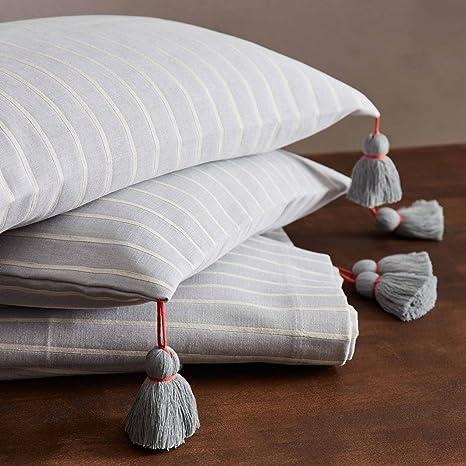 URBANARA Ermida - Funda de cojín (100% algodón, con flecos ...