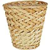 Household Essentials Small Willow and Poplar Waste Basket, Natural Light Brown