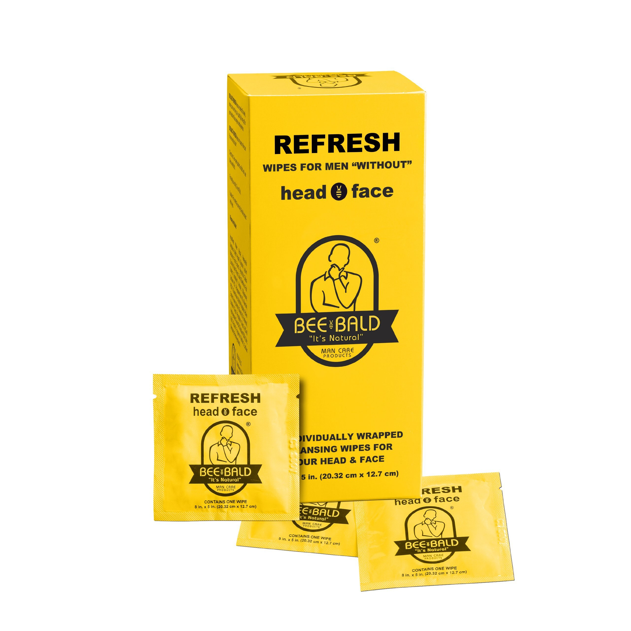 Bee Bald REFRESH individual wipes (30 Per Carton)