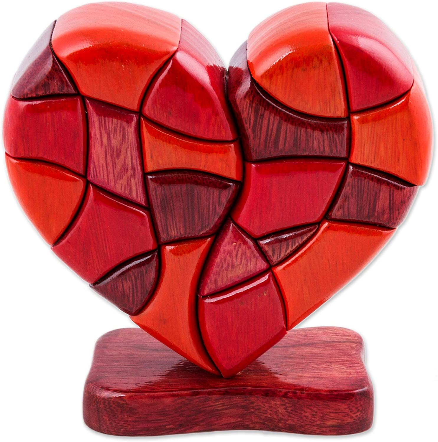 """NOVICA Red Romantic Love Heart Shaped Wood Sculpture, 6.25"""" Tall 'Heart of Love'"""