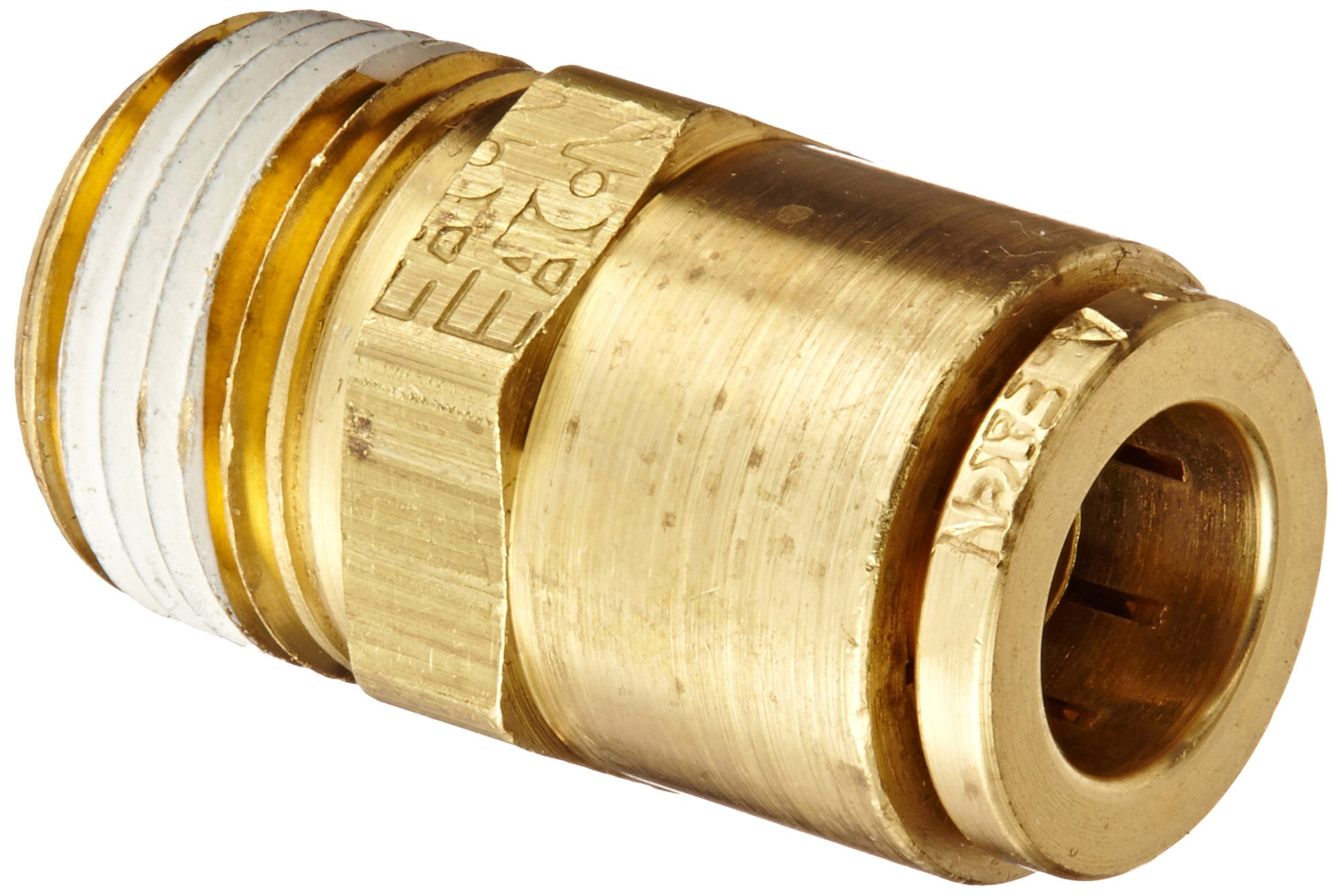 Eaton Weatherhead 1868X6X6 Brass CA360 D.O.T. Air Brake Tube Fitting, Male Connector, 3/8'' NPT Male x Tube OD