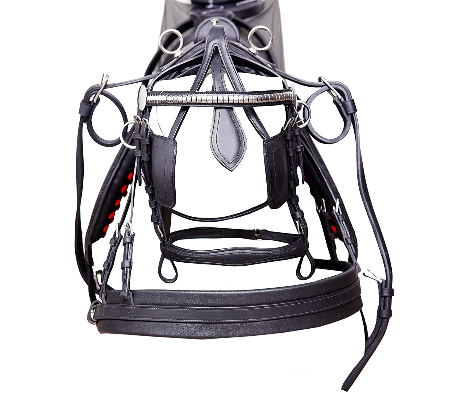 ACES EQUINE LEATHER HEAVY DUTY HORSE CART DRIVING HARNESS BLACK IN SIZE FULL HORSE