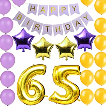 LOVELY BITONR Gold 65th Birthday Party Decorations Kit Happy Banner Number Balloons Include A