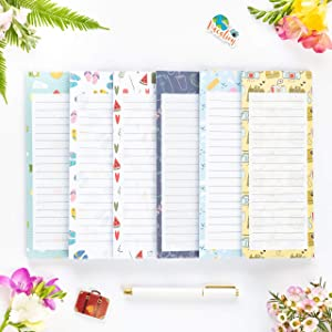 """Peach Tree Shade Magnetic Notepads, 6-Pack 60 Sheets Per Pad 3.5"""" x 9"""", for Fridge, Kitchen, Shopping, Grocery, To-Do List, Memo, Reminder, Note, Book, Stationery, (Summernotes)"""