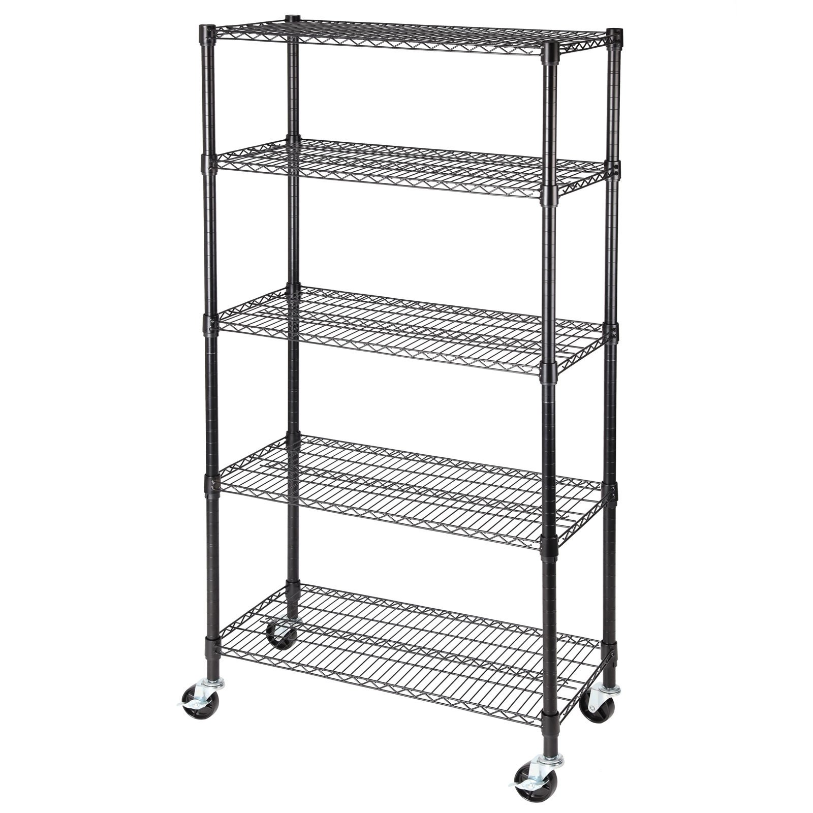 Shelving rack heavy duty 5 tier 60 inch x30 inch x14 inch steel shelf heavy duty adjustable layer wire steel & commercial grade chrome wire