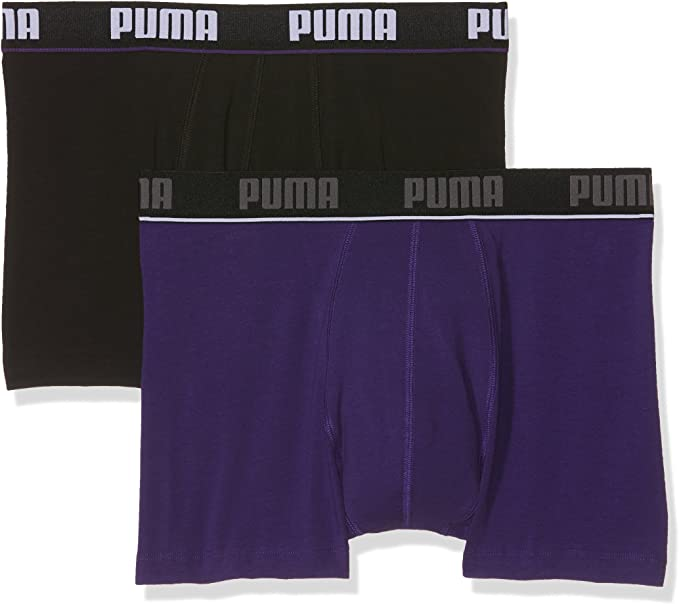 PUMA Basic Stripe Elastic Boxer 2p Ropa Interior, Hombre