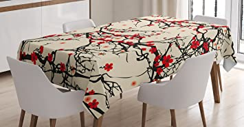 Japanese Tablecloth By Ambesonne, Asian Nature Cherry Blossom Sakura Branch  Flowers Blossoms Artwork Print,